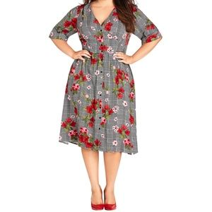 City Chic Sloane floral houndstooth dress 9039